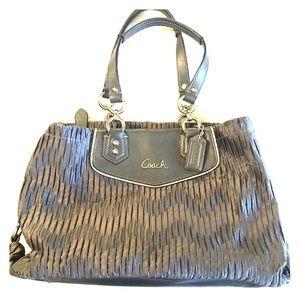 Coach silver satin handbag